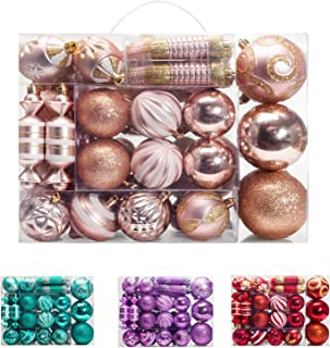 AMS 81ct Christmas Ball Assorted Pendant Shatterproof Ball Ornament Set Seasonal Decorations with Reusable Hand-Help Gift Boxes Ideal for Xmas, Holiday and Party (81ct, Champagne)