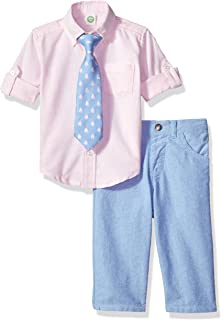 Baby Boys' Woven Pant Shirt and Tie Set