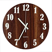 Tiords Frameless Glow in The Dark Living Room Battery Operated Non-Ticking Wall Clocks, Silent Wood Wall Clock for Bedroom 12 Inch