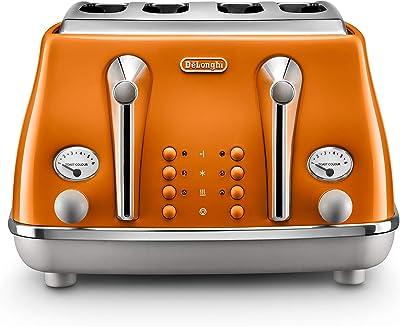 De'Longhi Icona Capitals 4 Slice Toaster, Rome Orange, CTOC4003O
