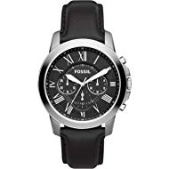Men's Grant Quartz Stainless Steel and Leather Chronograph Watch, Color: Silver, Black (Model:...