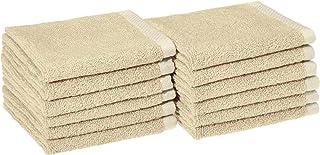 AmazonBasics Quick-Dry, Luxurious, Soft, 100% Cotton Towels, Linen - Set of 12 Washcloths
