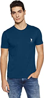 US Polo Association Athleisure Men's Solid Regular Fit T-Shirt (I633-195-PL_Navy_Medium)