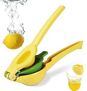 Relaxdays Citruspers handmatig, stabiele vruchtenpers 2-in-1 voor citroenen en limoenen, bar, HxBxD: 5,5 x 7,5 x 22 cm, geel