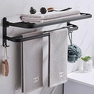 Meyuxg Porte-serviettes sans trous - Pliable - Accessoire de salle de bain - Avec 2 crochets - Convient pour la salle de b...