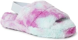 Dearfoams Luna Furry Slide with Elastic Strap womens Slipper