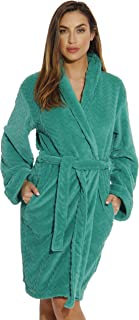 Image of Mid Length Chevron Textured Velour Hooded Robe for Women - See More Colors