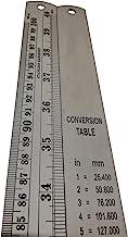 Regla de metal graduada de 1 m (100cm, 1000mm) de longitud fabricada en acero inoxidable, con funda impermeable y tabla de conversión