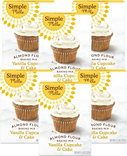 Simple Mills Almond Flour Baking Mix, Gluten Free Vanilla Cake Mix, Muffin pan ready, Made with whole foods 6 Count (Packa...