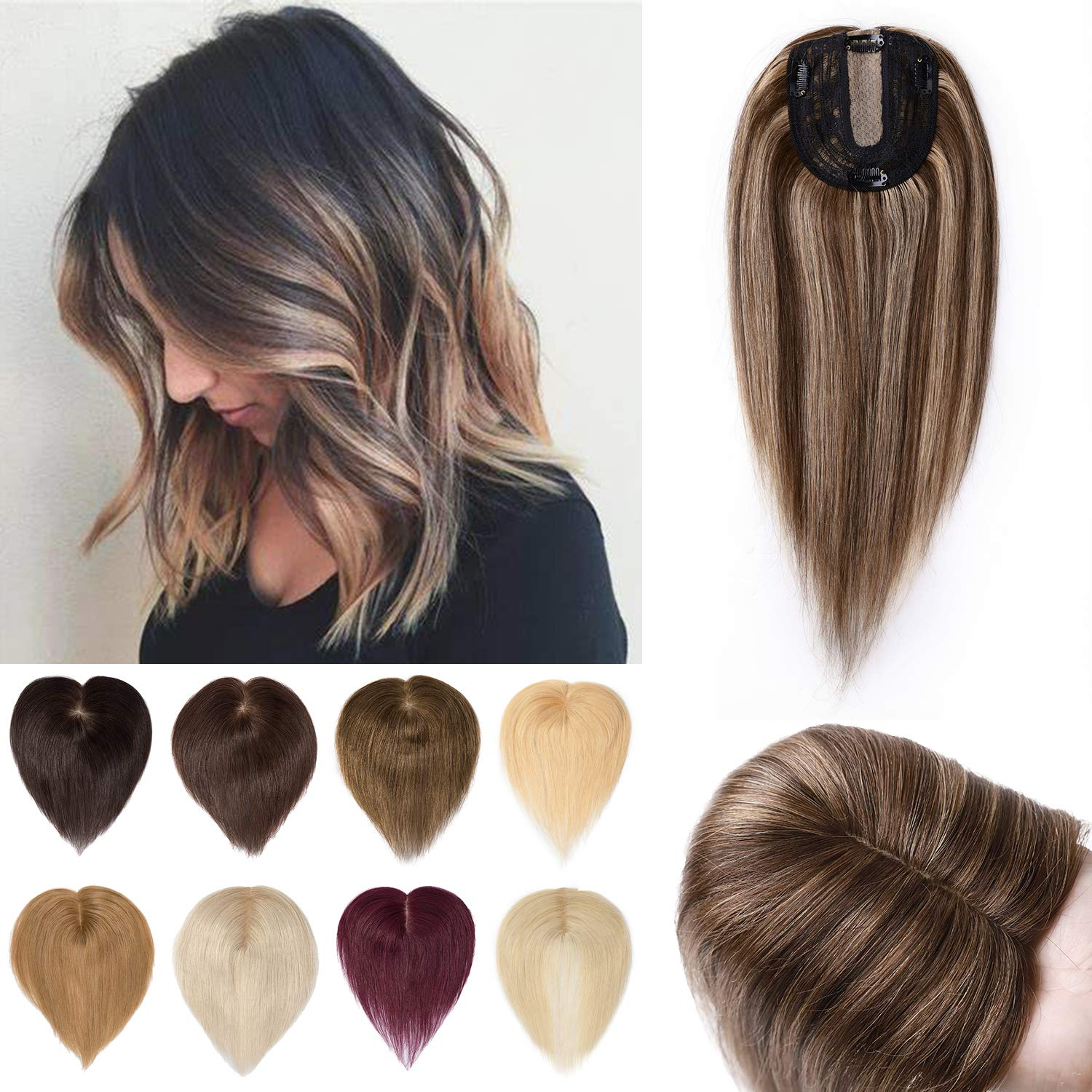 S-noilite 12Inch Clip in Max 77% OFF Human Hair Topper 120% Ha Special price for a limited time Density Crown