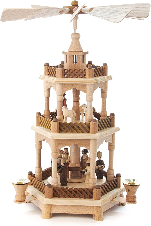 Pyramide natur Christi Geburt und Krippe, 2-stckig, für Kerzen, von DREGENO SEIFFEN 42 cm – Original erzgebirgische Handarbeit, Weihnachtsdekoration