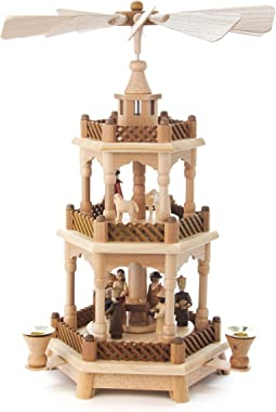 Authentic German Erzgebirge Handcraft 3-tier pyramid Nativity scene natural wood - 42cm /16.5 inch - Dregeno Seiffen