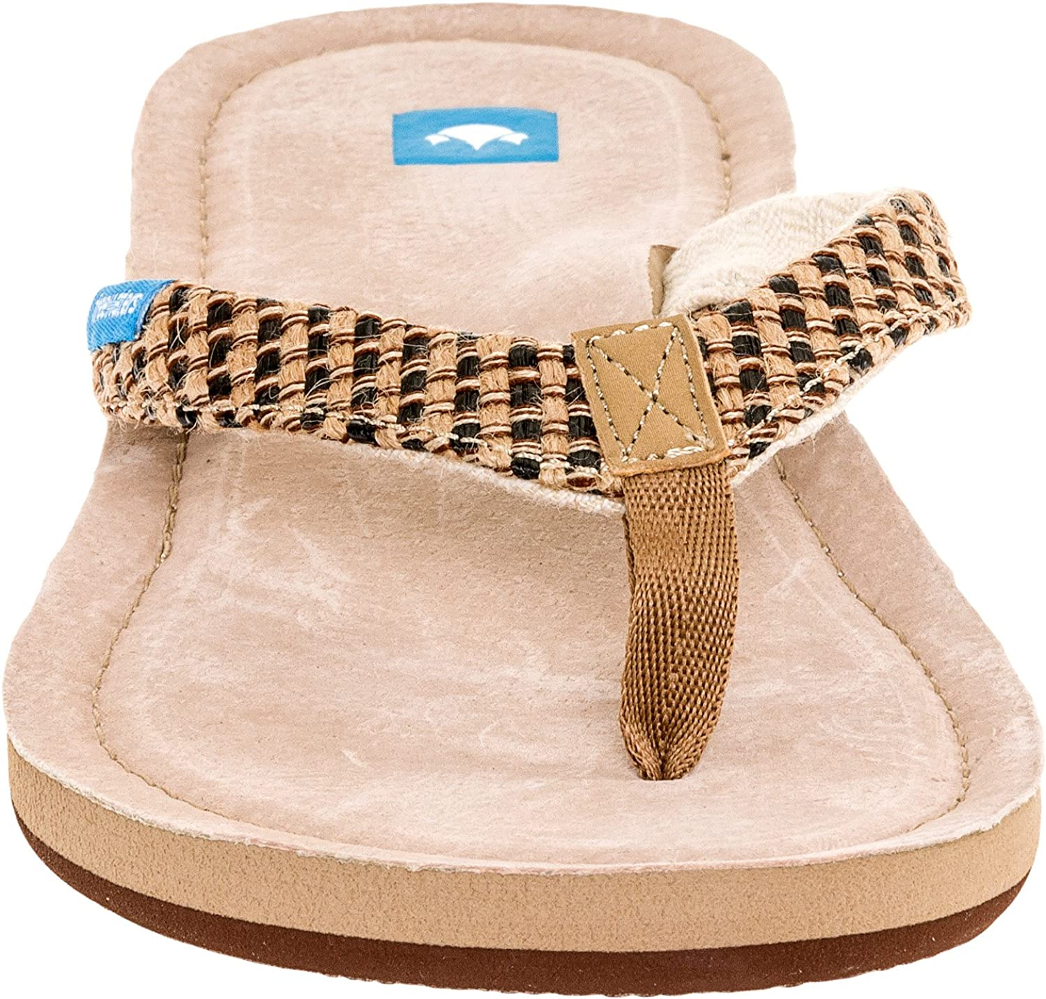 Freewaters Womens Premium Suede Footbed Salina Sandals (Tan Black, Size 10)
