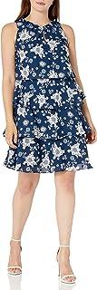فستان حريمي من Sandra Darren مصنوع من الشيفون المطبوع بدون أكمام