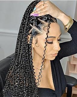 The BOHOBABE 18 Inch Goddess Box Braids Crochet Hair 3X with Curly Ends 8 Packs Boho Braiding Hair Extension for Black Wom...