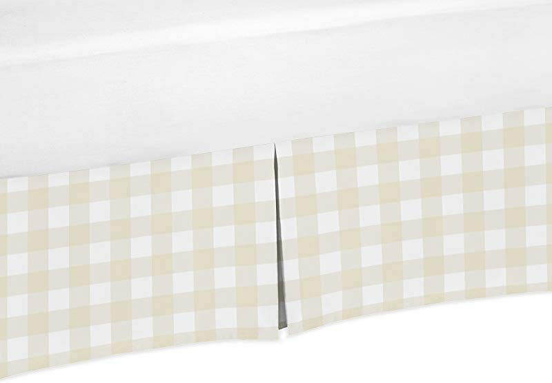 Sweet Jojo Designs Beige And White Buffalo Plaid Check Baby Boy Pleated Baby Crib Bed Skirt Dust Ruffle For Woodland Camo Collection