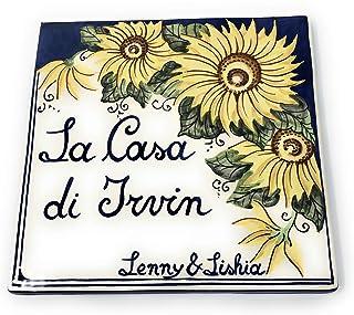 CERAMICHE D'ARTE PARRINI- ceramica italiana artistica, numero civico 20x20 personalizzato, decorazione girasoli, dipinto a...