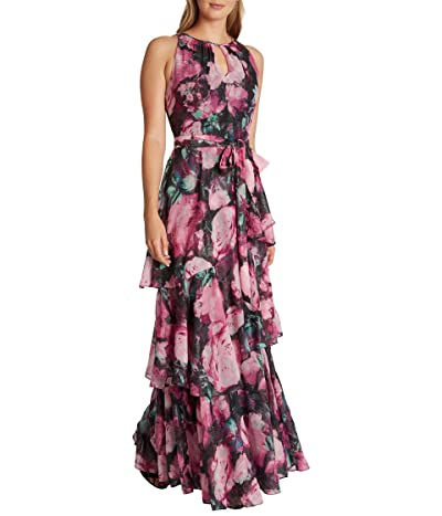 Tahari by ASL Metallic Clip Floral Chiffon Gown with Tiers (Aster Night Bloom) Women