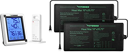 discount VIVOSUN new arrival 2 Pack Durable Waterproof Seedling 2021 Heat Mat Warm Hydroponic Heating Pad 10'' x 20.75'' and Digital Hygrometer Indoor Outdoor Thermometer Humidity Monitor online