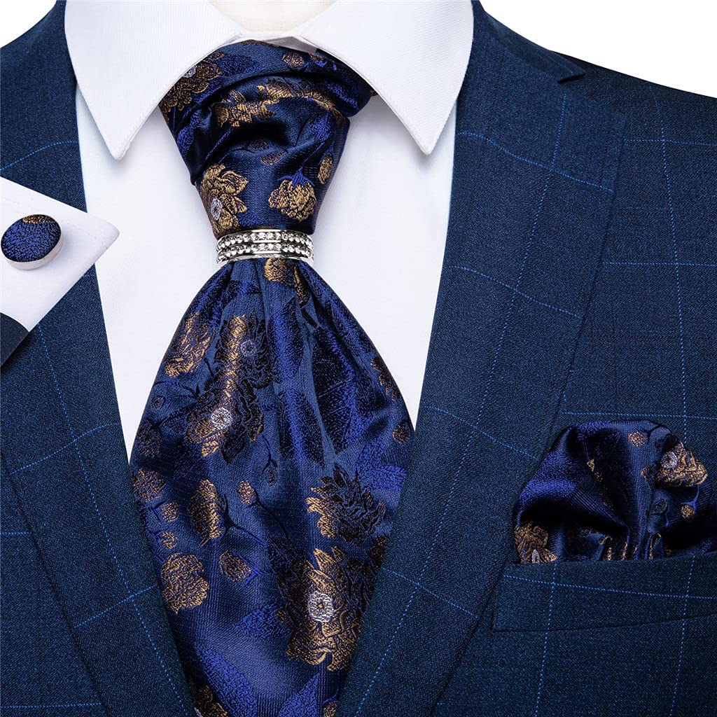 CDQYA Mens Blue Tie British Style Silk Cravat Tie Hankerchief Sliver Ring Set For Wedding Bussines Party Man Suit Accessories (Color : Blue, Size : One size)