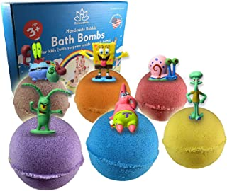Organic Handmade Bath Bombs For Kids with SPONGE AND FRIENDS TOYS INSIDE – Natural and Safe Bath Bombs with Essential Oils – with Toys Inside – Great Gift Set for Boys and Girls – 6 x 5 OZ