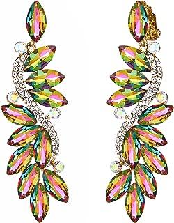 Women's Wedding Bridal Crystal Multi Marquise Filigree Flower Chandelier Clip-On Dangle Earrings