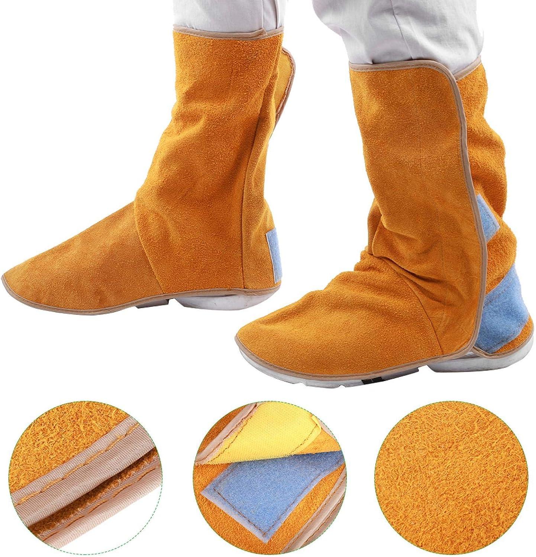Zapatos protectores de soldadura, 1 par de piel de vaca, resistente al calor, ignífugo, para botas de soldadura, protección para piernas de soldador, protección para los pies