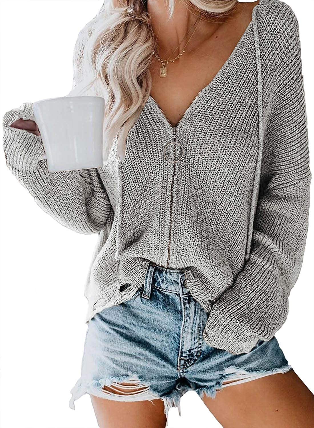 Actloe Cardigan Sweaters for Women Long Sleeve Zip Up Hoodie Knit Sweater Lightweight Fall V Neck Tops Casual Coat