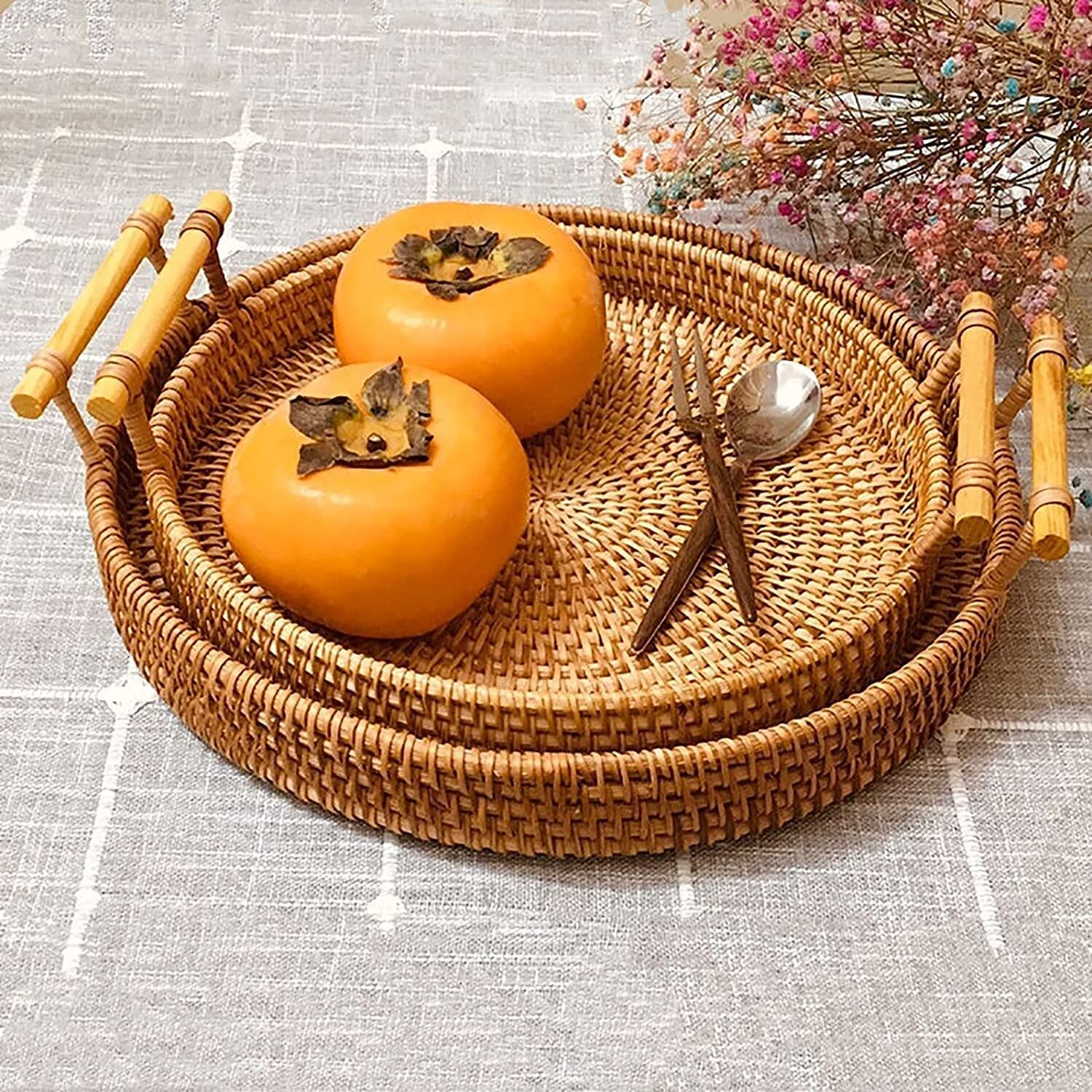 HDSF Hand Woven Round Rattan Basket Storage Deluxe Max 52% OFF Handles with Wooden