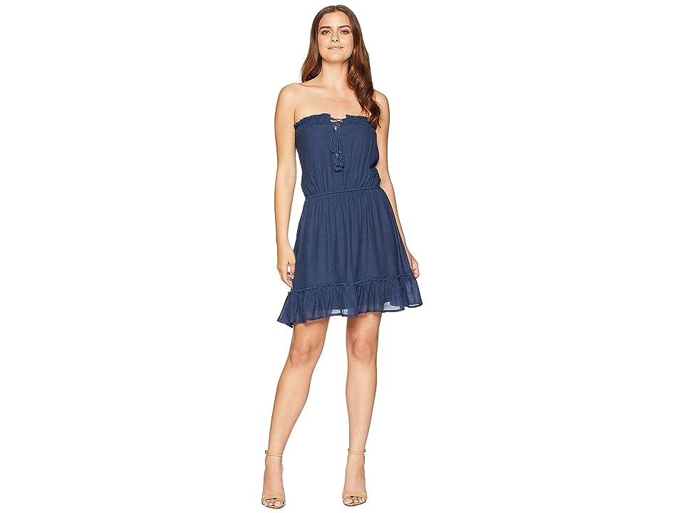American Rose Lyra Ruffle Bottom Dress with Tassels (Navy) Women