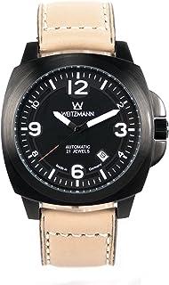 Otto Weitzmann - WEITZMANN 1955 - Reloj automático (carcasa negra, esfera negra, piel de yute), color miel