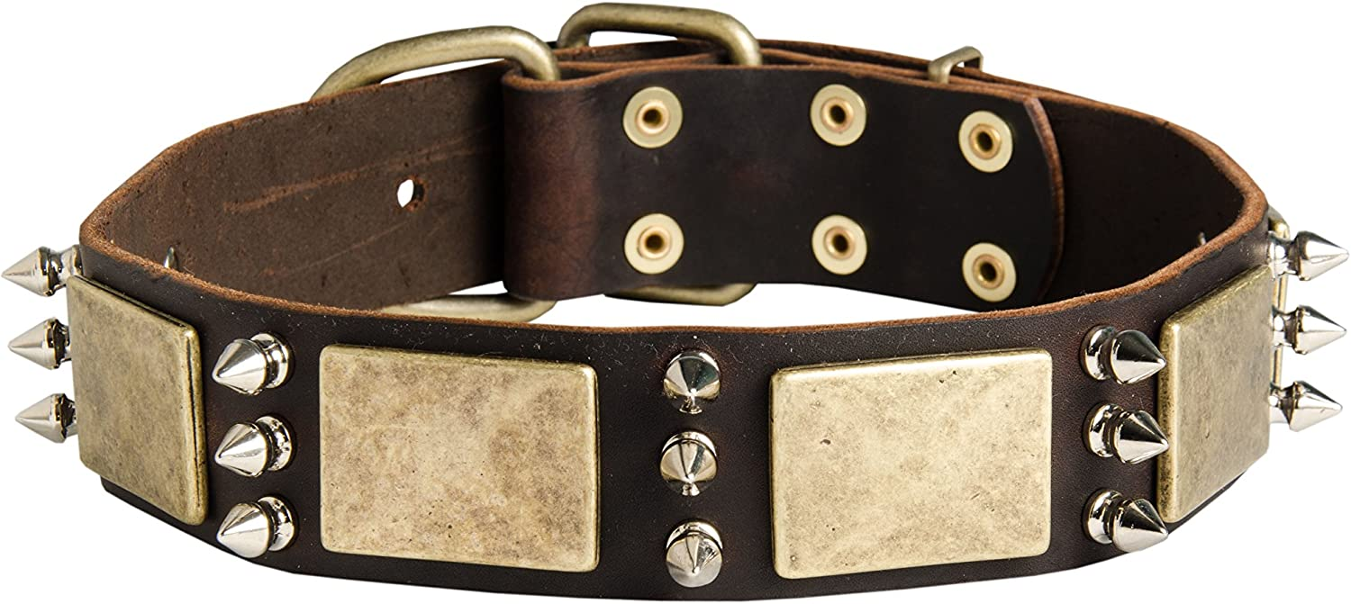 """18 inch Gorgeous War Dog Tan Leather Dog Collar with Spikes and Plates  """"Noble Sir""""  1 1 2 inch (40 mm) wide"""
