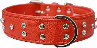 """Angel, Athens Goldfish Orange Rhinestone Collar 100% genuine Leather , 24"""" x 1.5"""", Soft Padded cushion backing, Fits Labs,..."""