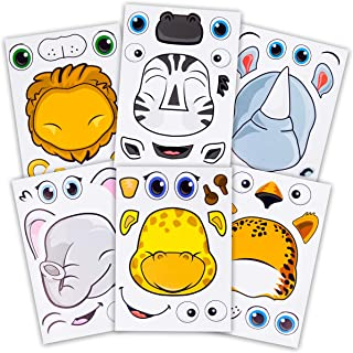 24 Make A Safari Animal Sticker Sheets - Includes Lion, Cheetah, Elephant, Rhinoceros, Zebra, & Giraffe Stickers - Great for Zoo & Safari Themed Birthday Party Favors -Fun Activity That Encourages Creativity