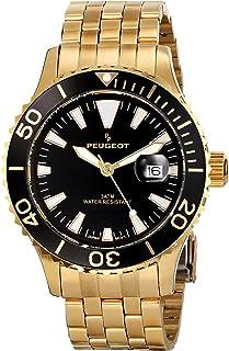 Peugeot Men's 128SBL Analog Display Japanese Quartz Silver Watch