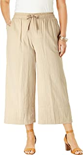 Women's Plus Size Gauze Wide-Leg Crop Pant