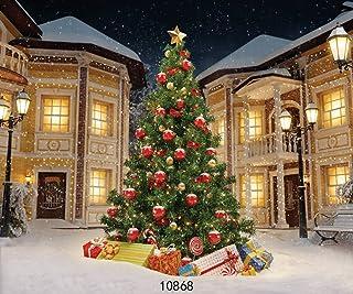 Sjoloon 10868 Weihnachtsbaum Hintergrund mit Geschenk Boxen, für Fotografie, Weihnachten, Party, Dekoration, Banner, Fotohintergrund, Studio Requisite