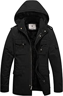 WenVen Men's Winter Military Thicken Parka Jacket with Removable Hood