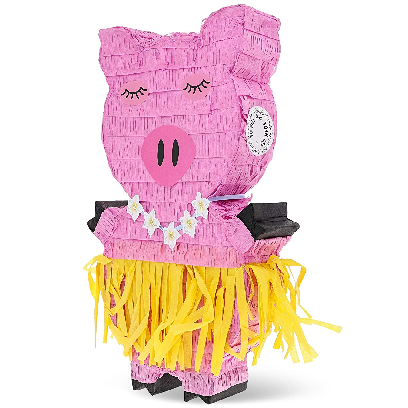 Juvale Hawaiian Luau Pig Party Pinata, Pink/Yellow, 16.5 x 10 x 3 Inches
