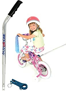 Push me Home Parent assistance push handle for kids bike with training wheels or stabilisers with strong removable aluminium lightweight handle and clamp to assist toddlers to ride their first bicycle