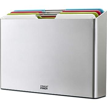 Joseph Joseph Folio Plastic Cutting Board Set with Storage Case Color-Coded Easy-Access Design Dishwasher Safer Non-Slip, Large, Silver