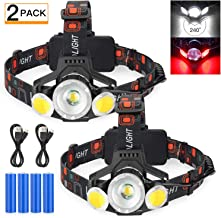 2020 Newest Rechargeable LED Headlamp, 2 Pack 10000 Lumen Super Bright Zoomable Headlight, 4 Modes USB Recharge Flashlight...