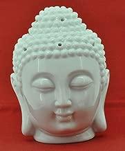 Mandala Crafts® Porcelain Yoga Meditation White Buddha Head Statue Oil Burner Aromatherapy Diffuser