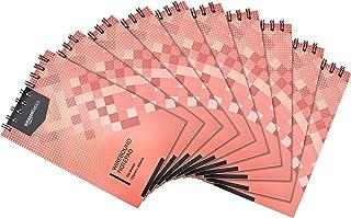 Amazon Basics - Bloc de notas de anillas, encuadernación superior, 300 hojas a rayas, 12,5 x 20 cm, 10 unidades