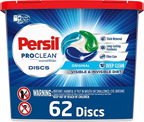 Persil 2400771 Persil ProClean 4 Chamber Discs Laundry Detergent, Original, 62 Count, Blue