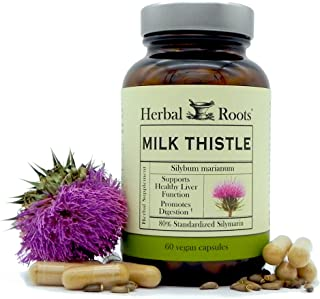 Herbal Roots - Milk Thistle Capsules - Extra Strength 80% Silymarin Herbal Supplement - Made with Pure Organic Milk Thistl...