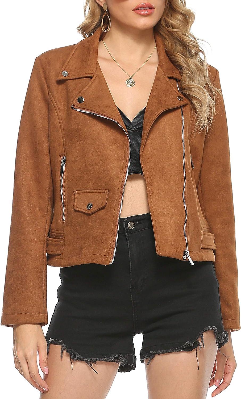 Uaneo Womens Faux Suede Short Casual Motorcycle Biker Jacket Coat(Brown-M)