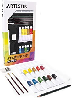 Acrylic Paint Set - 20 Piece Starter Set for Beginners, Students and Artists, Ideal for Canvas Painting, 12 Tubes x Acrylic Paints in Vivid Colors, 3 Brushes - Art Supplies Kit for Adults and Kids