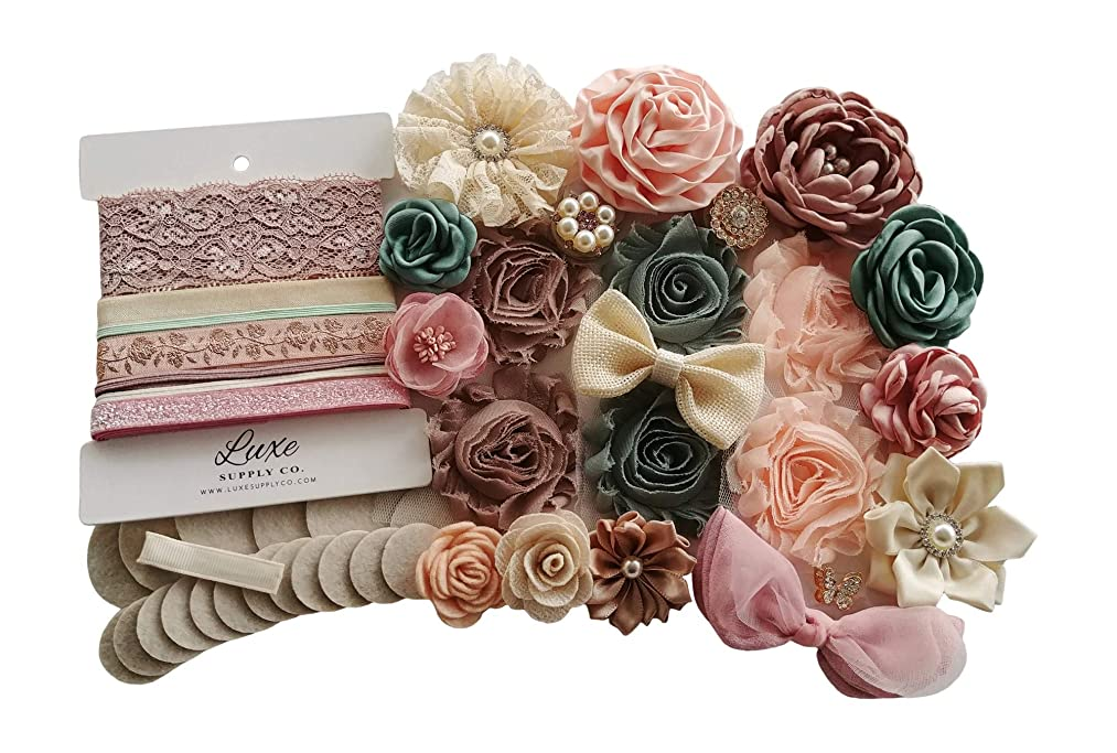 DIY Headband Kit - Sage, Antique Pink, Peach, Ivory, Champagne - Makes 14 Headbands and 1 Clip! - Bridal Shower Headband Station - DIY Craft Kit - Party Supplies - Wedding Party - Soft Boho