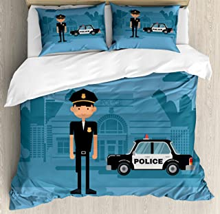 Lunarable Police Duvet Cover Set, Cartoon Officer Cop Standing in Front of The Station on Blue Background, Decorative 3 Pi...